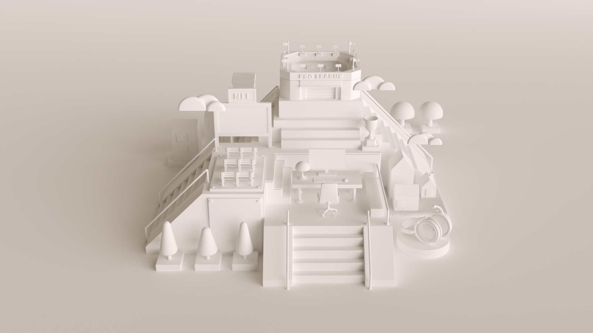 3D Illustration Konceptbild modell utan texturer